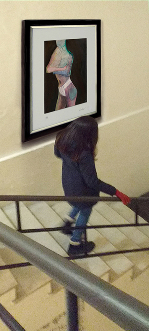 Primary Woman (1988)  young girl in red gloves,  descending.