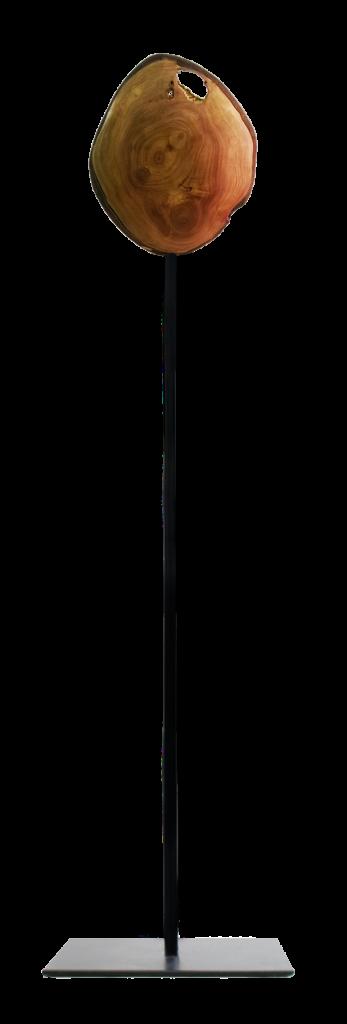 Lenticular wood - iron pedestal
